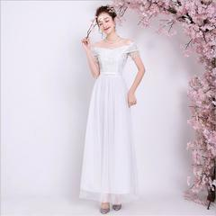 Fashion Bridesmaid Gown Wedding Clothes Bride Long Dress Women Banquet Evening Party Dresses white xl