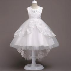 Girls Dress Princess Dresses Wedding Flower Girl Dress Birthday Dress Kids Formal Clothing white 130