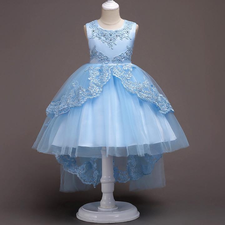 Girls Dress Princess Dresses Wedding Flower Girl Dress Birthday Dress Kids Formal Clothing light blue 110