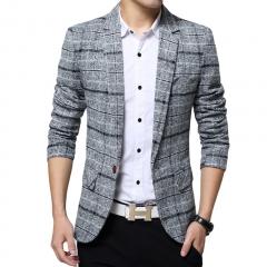 Business mens blazer Casual Blazers Men lattice Formal jacket Popular Design Men Dress Suit Jackets gray l