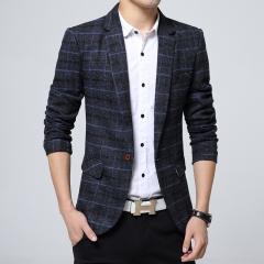 Business mens blazer Casual Blazers Men lattice Formal jacket Popular Design Men Dress Suit Jackets navy blue 2xl