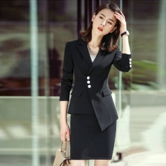 Women Autumn Lapel Single-Breasted Asymmetric Fashion Long Sleeve jacket Slim office wear black s