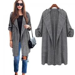 New Fashion Autumn Women Open Front Coat Long Cloak Jackets Overcoat Waterfall Cardigan gray m