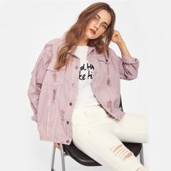 Boyfriend Denim Jacket Autumn Womens Jackets and Coats  Lapel Single Breasted Casual Fall Jacket pink s