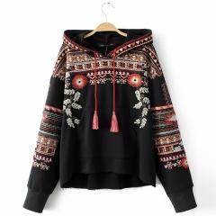 Hooded Long Sleeve Loose Hoodies Women Fashion Black Vintage Floral Geometric Embroidery Sweatshirt black s