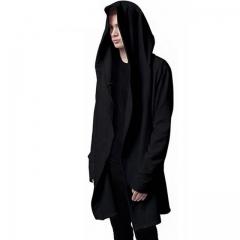 Men Hooded Sweatshirts With Black Gown Hip Hop Mantle Hoodies Fashion Jacket long Sleeves Cloak black m