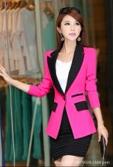 Fashion Women Autumn Winter Long Roll Sleeves Design Suit Jacket Ladies Suit Blazer Female black m
