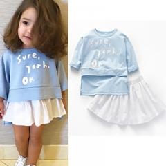 Hot selling girls 'clothes suit long sleeve T-shirt + short skirt 2 children's suit skirt light blue 80