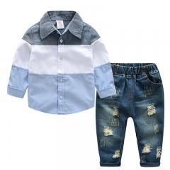 Hot children's clothing suit boys 'long-sleeved jacket holes in a cowboy suit 2 boys' suits light blue 90