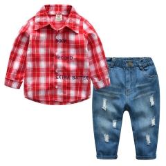 Hot children's clothing suit boys 'plaid long-sleeved shirts jeans suit 2 boys suit red 90