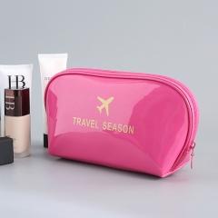 Women Fashion multifunctional PU Waterproof home travel Hand-held cosmetic makeup package bag Rose Red 8*13*19cm