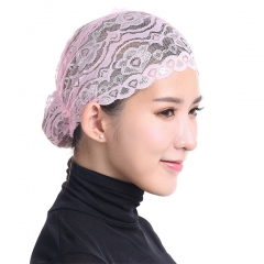 Stretch Elastic Adjustable Fashion Muslim Shiny Lace Hijab Khimar Inner Cap Pink Free Size