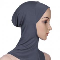 Soft Classical Conventional Stretch Elastic Adjustable Muslim Modal Mini Hijab Khimar Inner Cap Dark Gray Free Size