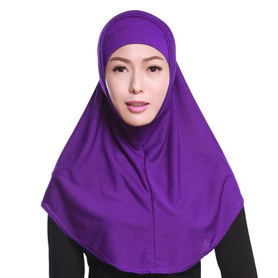 d10eb868c4a070 Two-piece Crystal linen full cover Stretch Elastic Adjustable Fashion Islamic  Muslim Hijab Purple Free
