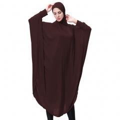 Highly elastic burqua Muslim lady Abaya Bat's-wing-sleeves Dress Hijab Two in One thobe with hijab Coffee M