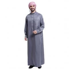 Muslim Embroidery Stand collar Long sleeves Arab Men Thobe Thawb Caftan clothes dress with pocket Dark Gray XXL