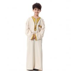 Muslim Boy Robes Kids Long Sleeves Round Neck Dishdasha Thobe Thawb Caftan clothes Pale Yellow L