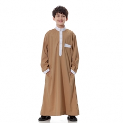 Classical Muslim Kids Boy Robes Long Sleeves Stand collar Thobe clothes Camel XL