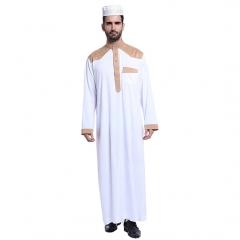 Muslim classical Stand collar Long sleeves Arab Men Thobe Thawb Caftan clothes dress Shirts Camel L