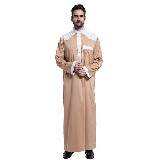 Muslim classical Stand collar Long sleeves Arab Men Thobe Thawb Caftan clothes dress Shirts Camel S