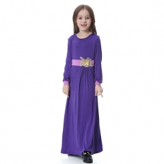Highly elastic Applique Kids Muslim girl dress Robes Long Sleeves clothes Abaya Purple S