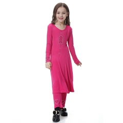 Two –Piece Suit Highly elastic Kids Muslim girl dress Robes Long Sleeves trousers clothes Abaya Rose Red S
