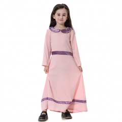 Fashion Highly elastic Kids Muslim girl dress Robes Long Sleeves clothes Abaya Pink 90cm