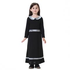 Fashion Highly elastic Kids Muslim girl dress Robes Long Sleeves clothes Abaya Black 160cm