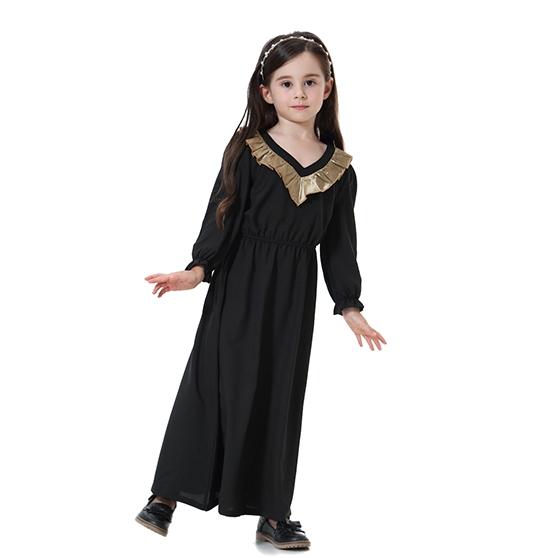 c75bbef20d Kids Muslim girl dress Robes Long Sleeves clothes Abaya Black 90cm ...