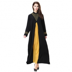 Wool peach Woman Muslim Computer Embroidery Lady dresses Robes Long Sleeves clothes Abaya Gold XXXL
