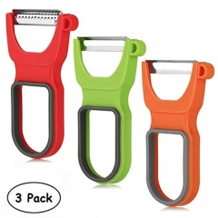Three-Piece Vegetable Fruit Peeler with Sharp Stainless Steel Blade Kitchen Gadgets Tools Red Green Orange 5*12*8cm