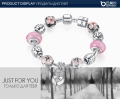 Bamoer  Silver Plated Heart Pendant Charm Bracelet with Cherry Blossom Pink Resin Beads Silver 17cm multicolor as show
