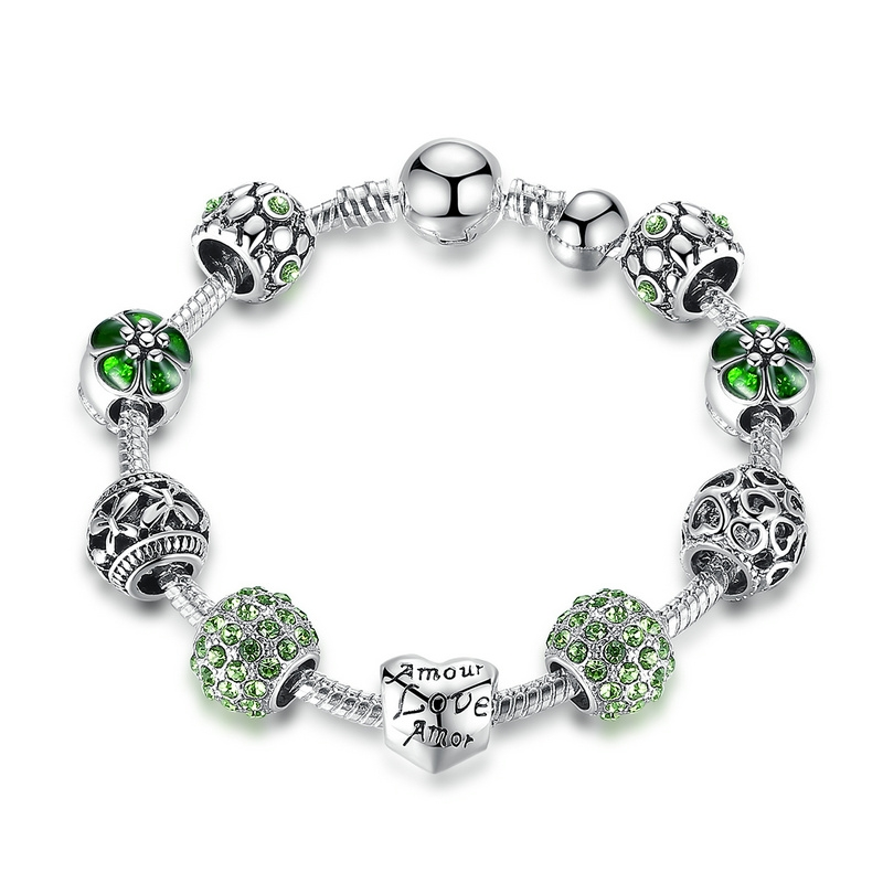 9f9d827181184 Antique Silver Charm Bracelet & Bangle with Love and Flower Beads Women  Wedding Jewelry green 18cm
