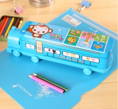 The locomotive double pencil case and multi-functional children's writing case Random color One Size