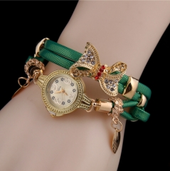 Fashion ladies bracelet new bow bracelet watch green