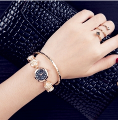 Three styles and one model women's vintage diamond bracelet quartz watch black