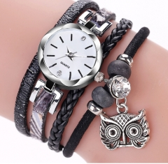 Stylish lady owl pendant watch black