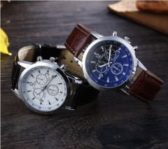 Four stylish men's blue glass three-eye belt watches Brown with white flour
