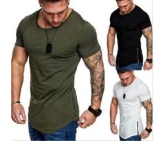 Casual sport slim solid color round collar men's T shirt bottom zipper black m