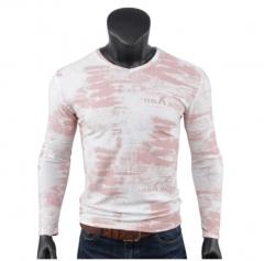 Stylish men's long-sleeved cotton monochrome printed slim T-shirt gray m