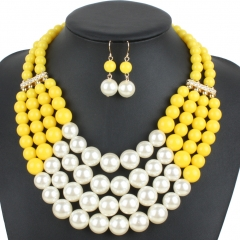 Pearl necklace gold plate fashion simulate plastic pearl bead multi strabd necklace women jewelry yellow one size