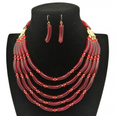 Wedding Jewelry Sets Multi layer Beads Necklace Sets Fashion Necklace Women red one size