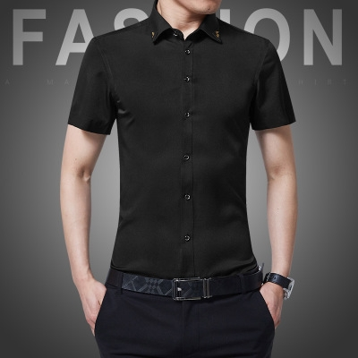 756cea9fd2ca8 Fashion Plus Size Men Casual Shirt Short Sleeves Tops Mens Slim Thin ...