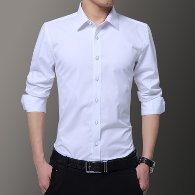 22538568 Men's Business Casual Shirt Solid Color Dress Shirt Long Sleeve Tops ...
