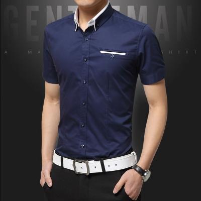 2018 Men Casual Shirt Short Sleeve Office Dress Shirt Summer Style