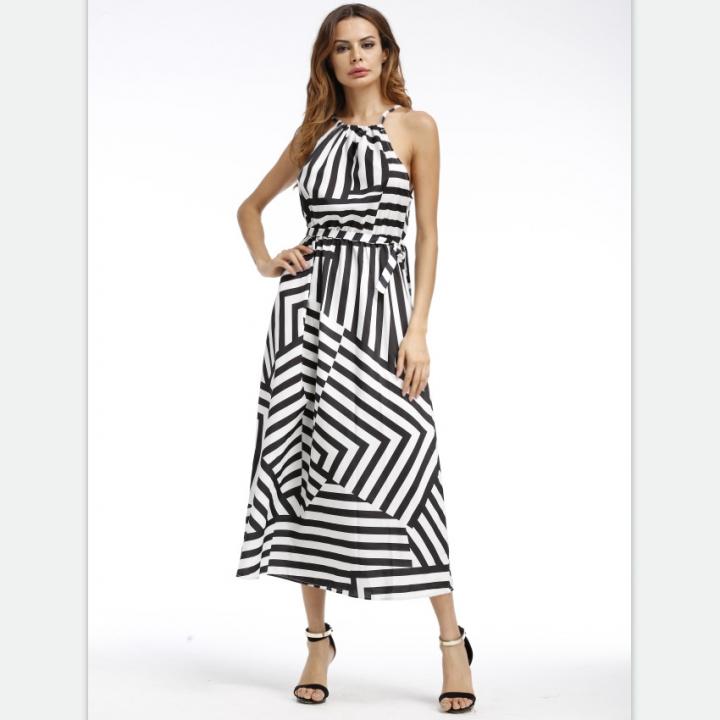 df0f70d6ef3a3f Women summer geometric harness print loose long sling dress black s ...