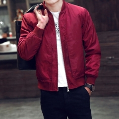 Spring Autumn Casual Fashion Slim Bomber Jacket Men Baseball Jackets Men's Coat Thin red l
