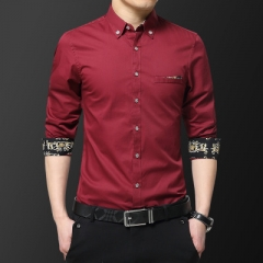 Men Formal Business Shirts Leisure Slim Long Sleeve Dresse Shirts Casual Shirts red m