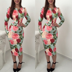 Women dress long sleeve print bodycon office lady party pencil dresses (with belt) as picture l