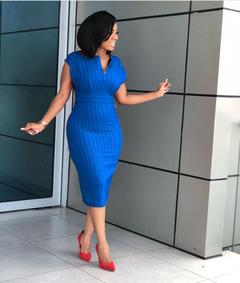 Office Lady Women Dresses Sexy V Neck Striped Elegant Fashion Bodycon Dress blue m